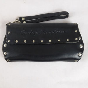 Harley Davidson Black Leather Studded Clutch